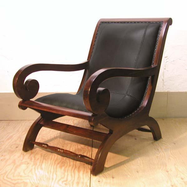 チーク一人掛けソファ 安楽椅子 寝椅子 レザーソファ