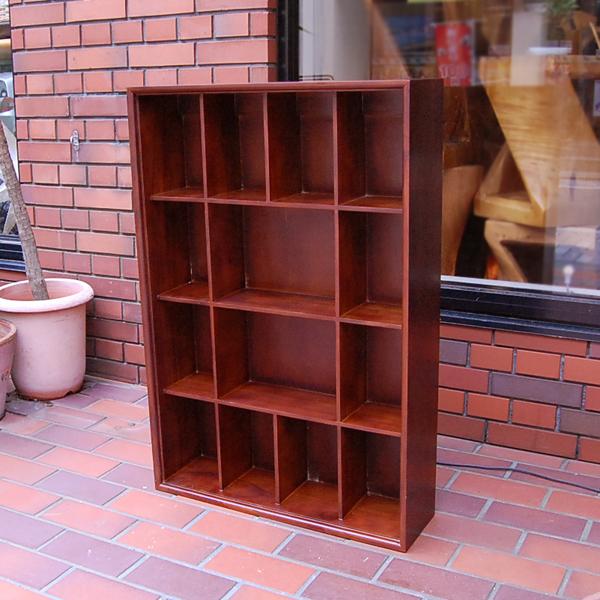 チーク無垢材家具 14ボックスラック BoxRack DVDラック 本棚 薄型収納