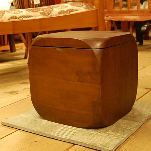 チーク無垢材家具 CUBE STOOL スツール 椅子 ミニチェア ボックススツール 収納