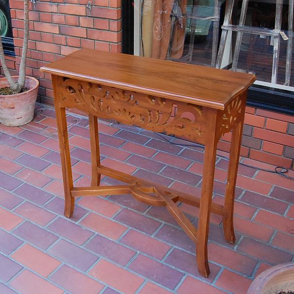 サイドテーブルカーブド コンソール ミニデスク 花台 チーク無垢材