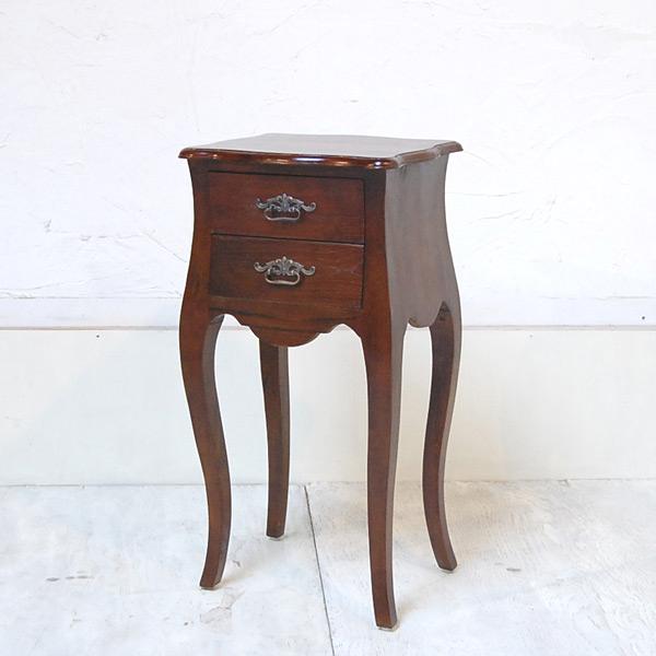 サイドテーブル2DRW ベッドサイド ミニチェスト チーク無垢材