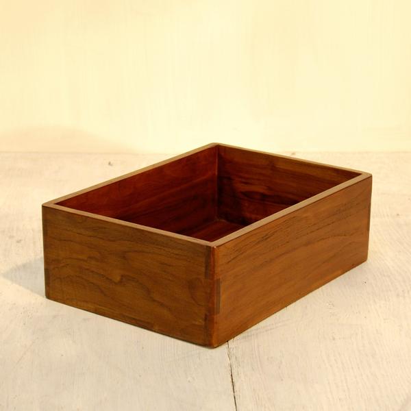チーク無垢材家具 BoxTray ボックストレイ 引出 書類整理箱 お道具箱