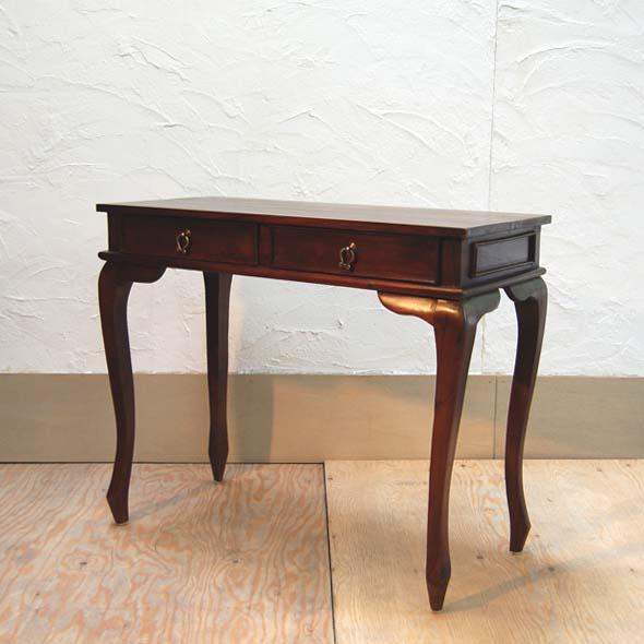 コンソールテーブル2DRW 90cm チーク無垢材 コンソールデスク