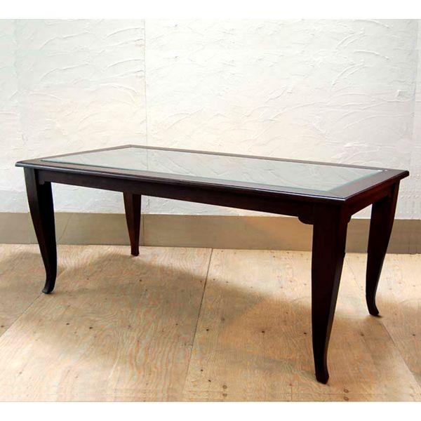 ダイニングテーブル ガラストップ チークウッド